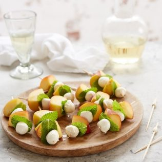 Fresh Peach, Galbani Bocconcini Mini and Mint Skewers