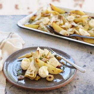Roast Potatoes with Marinated Artichokes and Galbani Bocconcini