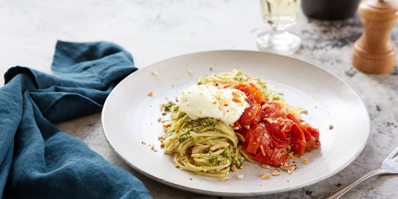 Spaghetti with Roasted Cherry Tomatoes Pesto and Galbani Ricotta