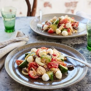 Tuna Salad with Marinated Red Peppers and Galbani Bocconcini